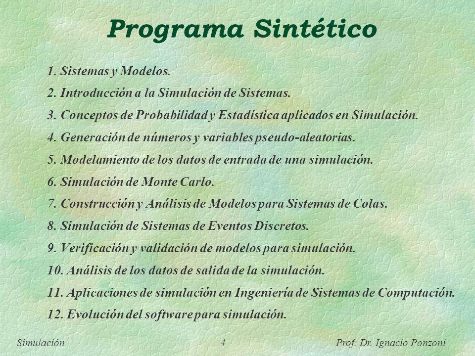 Simulación 4 Prof. Dr. Ignacio Ponzoni Programa Sintético 1. Sistemas y Modelos. 2. Introducción a la Simulación de Sistemas. 3. Conceptos de Probabil