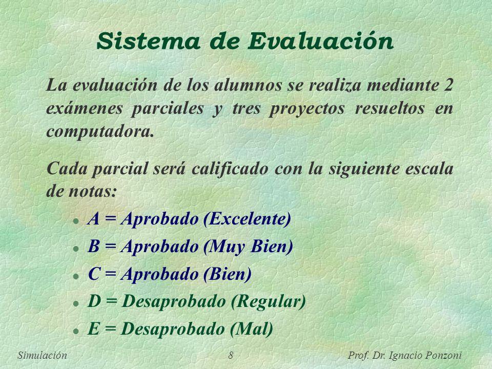 Simulación 8 Prof. Dr. Ignacio Ponzoni Sistema de Evaluación La evaluación de los alumnos se realiza mediante 2 exámenes parciales y tres proyectos re
