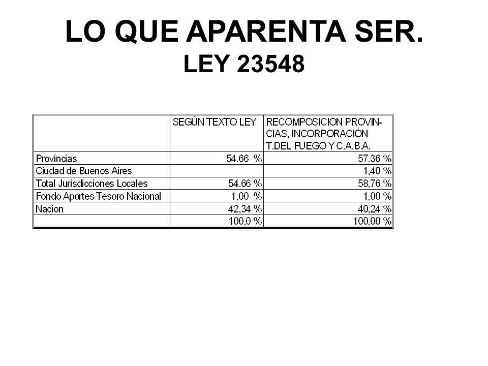 LO QUE APARENTA SER. LEY 23548