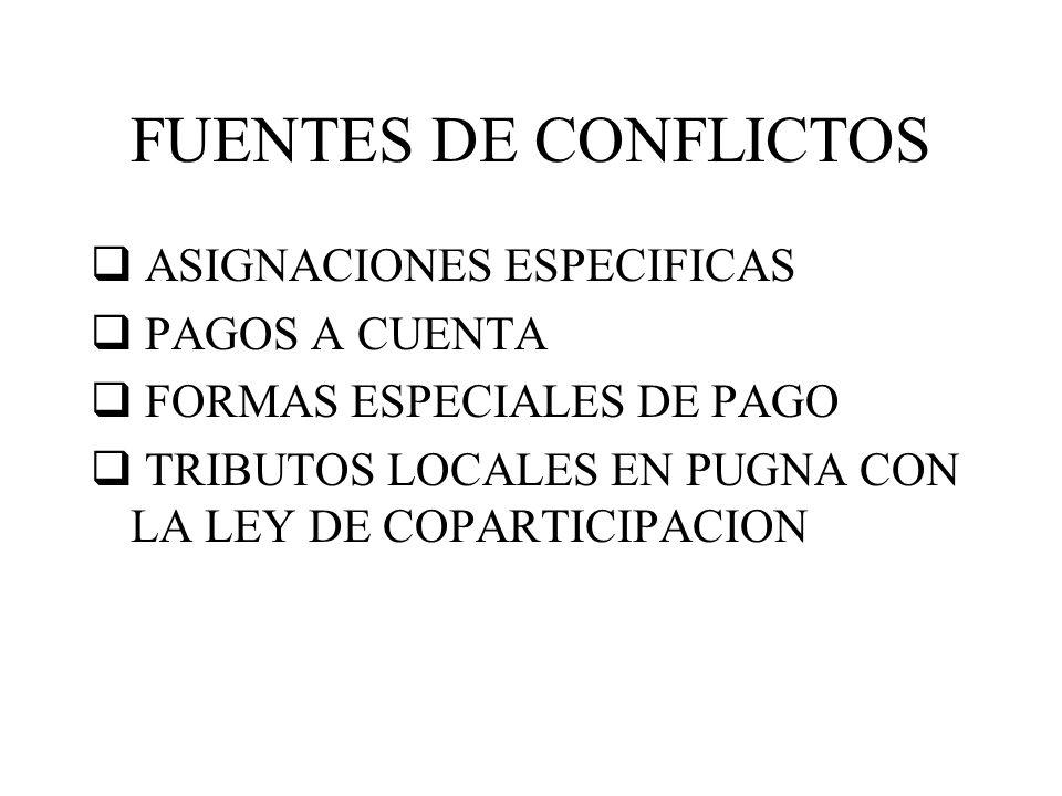FUENTES DE CONFLICTOS ASIGNACIONES ESPECIFICAS PAGOS A CUENTA FORMAS ESPECIALES DE PAGO TRIBUTOS LOCALES EN PUGNA CON LA LEY DE COPARTICIPACION