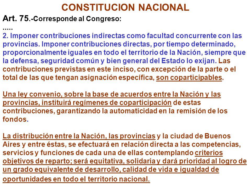 CONSTITUCION NACIONAL Art. 75.-Corresponde al Congreso:..... 2. Imponer contribuciones indirectas como facultad concurrente con las provincias. Impone