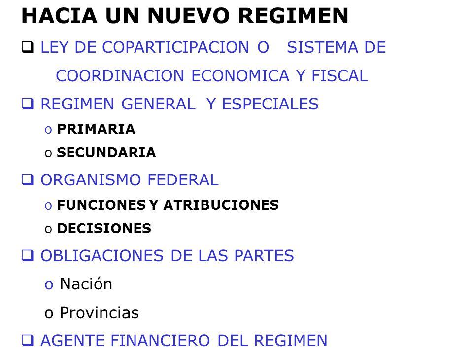 HACIA UN NUEVO REGIMEN LEY DE COPARTICIPACION O SISTEMA DE COORDINACION ECONOMICA Y FISCAL REGIMEN GENERAL Y ESPECIALES o PRIMARIA o SECUNDARIA ORGANI