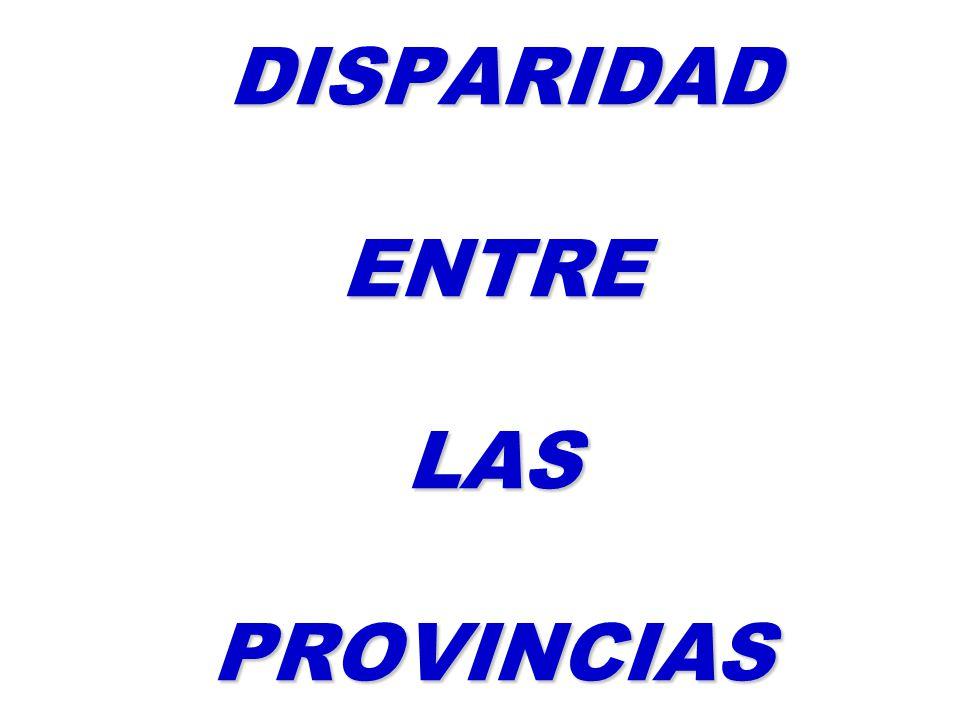 DISPARIDAD ENTRE LAS PROVINCIAS DISPARIDAD ENTRE LAS PROVINCIAS
