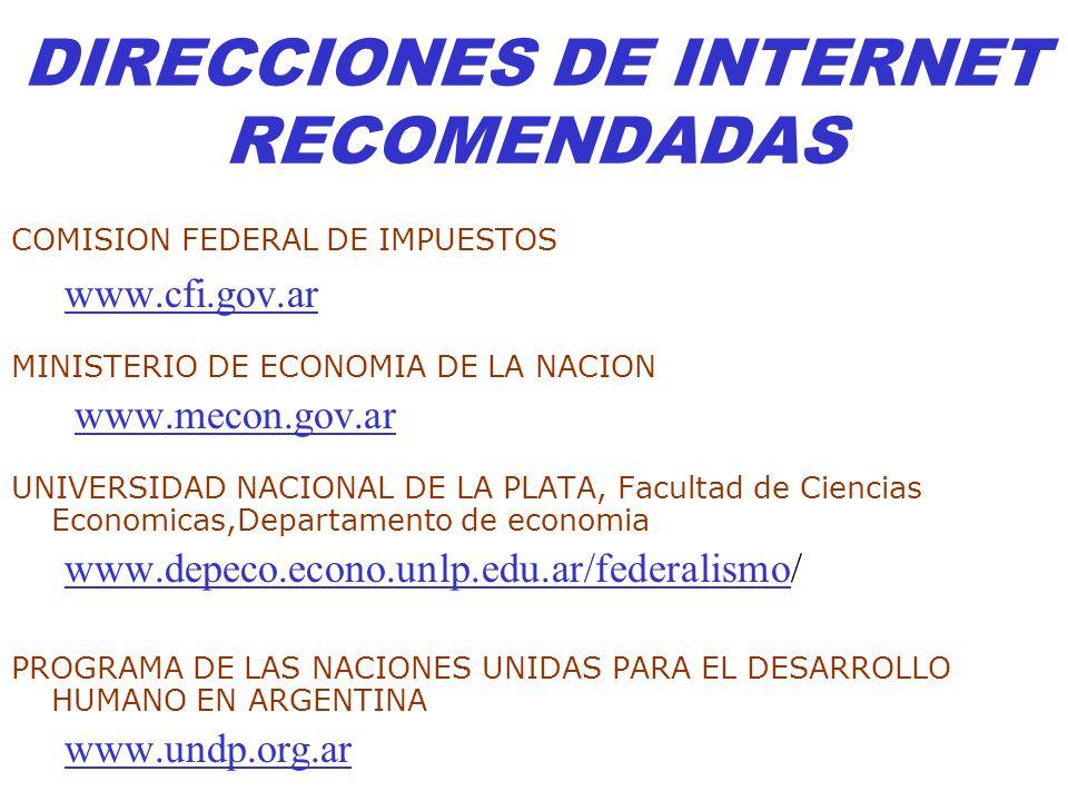DIRECCIONES DE INTERNET RECOMENDADAS COMISION FEDERAL DE IMPUESTOS www.cfi.gov.ar MINISTERIO DE ECONOMIA DE LA NACION www.mecon.gov.ar UNIVERSIDAD NAC