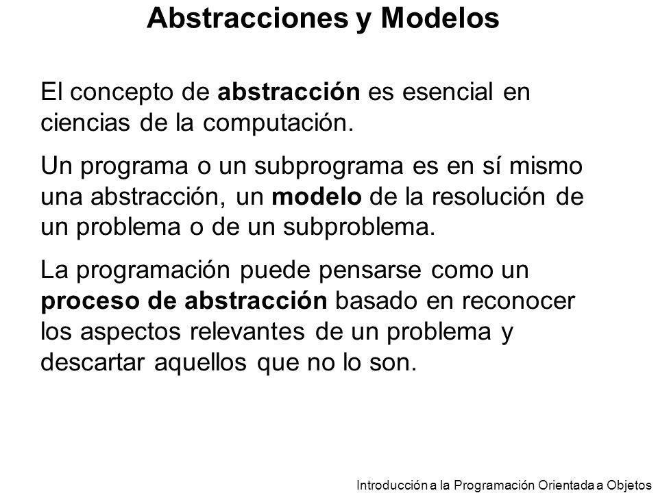 Introducción a la Programación Orientada a Objetos Abstracciones y Modelos El concepto de abstracción es esencial en ciencias de la computación. Un pr