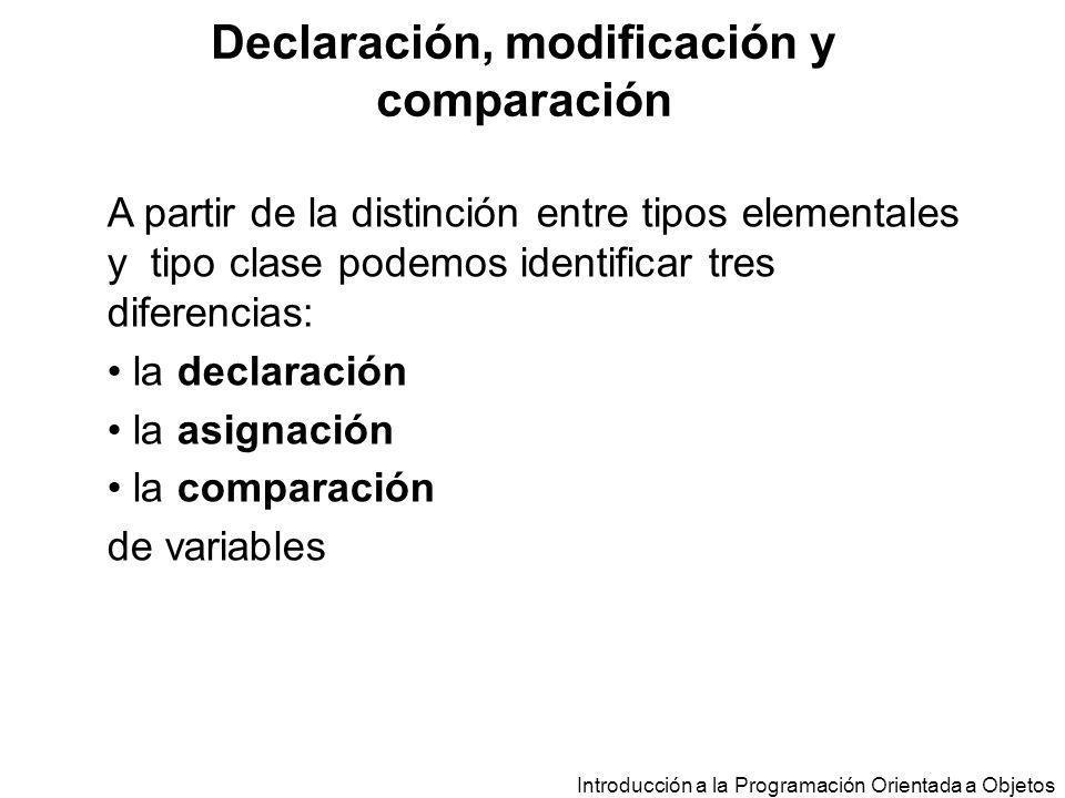Introducción a la Programación Orientada a Objetos A partir de la distinción entre tipos elementales y tipo clase podemos identificar tres diferencias