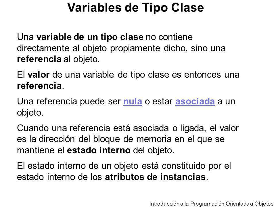 Introducción a la Programación Orientada a Objetos Variables de Tipo Clase Una variable de un tipo clase no contiene directamente al objeto propiament