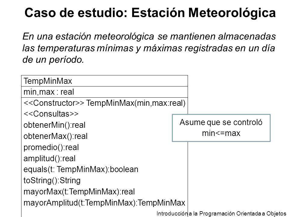 Introducción a la Programación Orientada a Objetos En una estación meteorológica se mantienen almacenadas las temperaturas mínimas y máximas registrad
