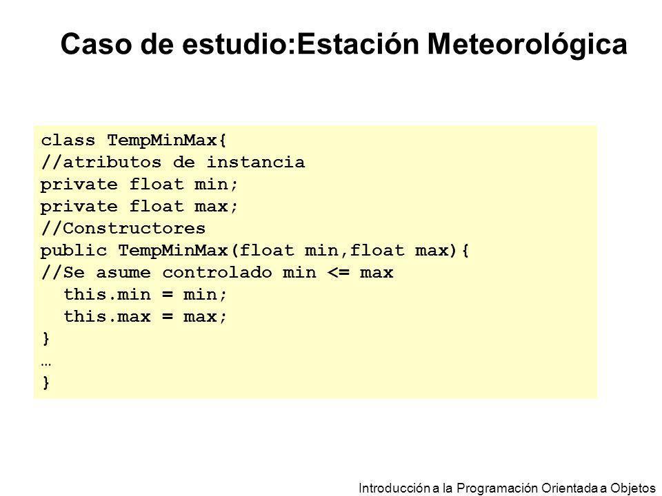 Introducción a la Programación Orientada a Objetos Caso de estudio:Estación Meteorológica class TempMinMax{ //atributos de instancia private float min