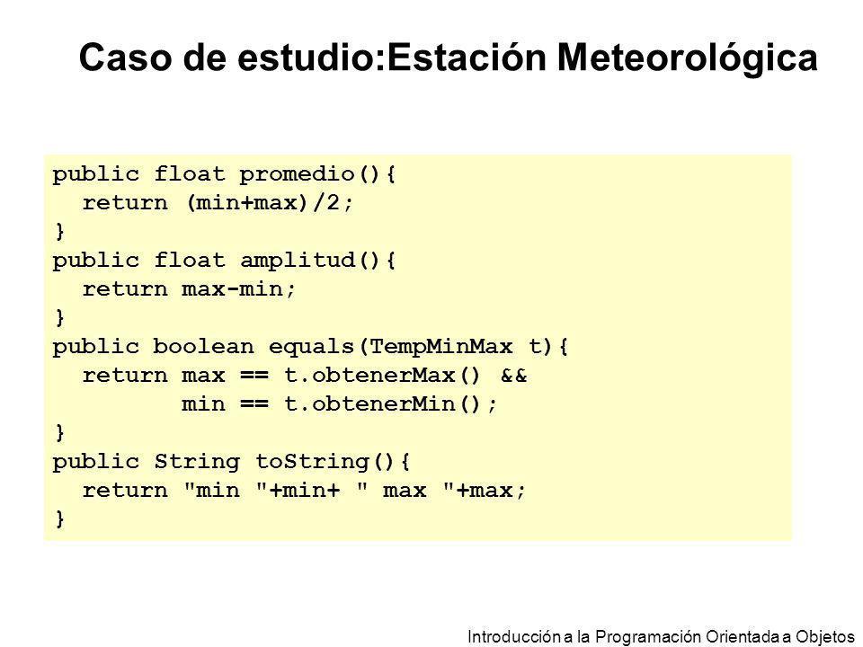 Introducción a la Programación Orientada a Objetos Caso de estudio:Estación Meteorológica public float promedio(){ return (min+max)/2; } public float
