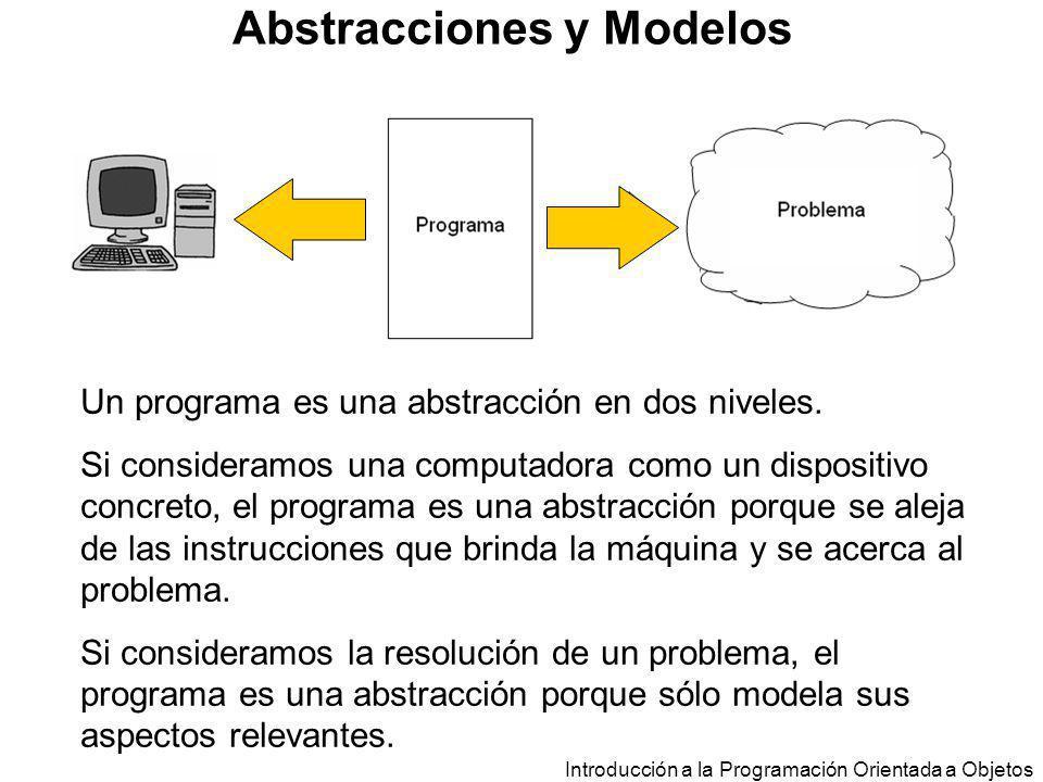 Introducción a la Programación Orientada a Objetos Abstracciones y Modelos Un programa es una abstracción en dos niveles. Si consideramos una computad