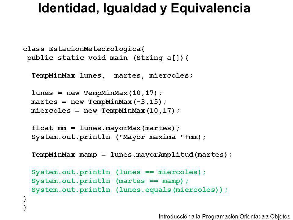 Introducción a la Programación Orientada a Objetos class EstacionMeteorologica{ public static void main (String a[]){ TempMinMax lunes, martes, mierco