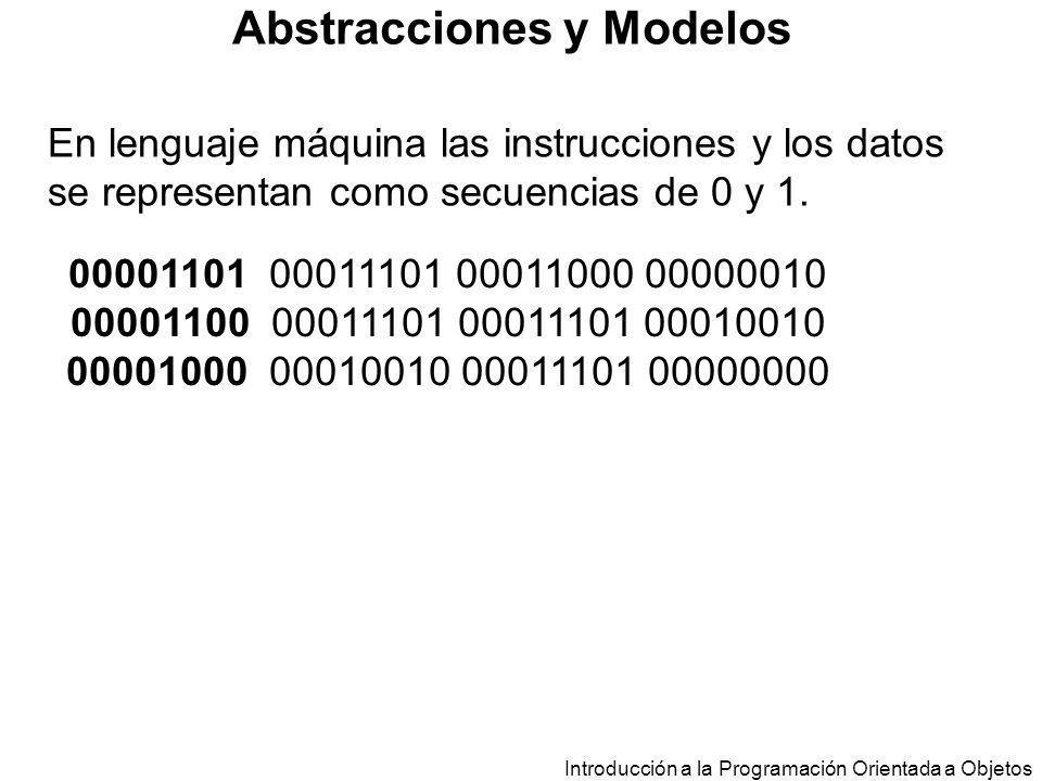 Introducción a la Programación Orientada a Objetos Abstracciones y Modelos En lenguaje máquina las instrucciones y los datos se representan como secue