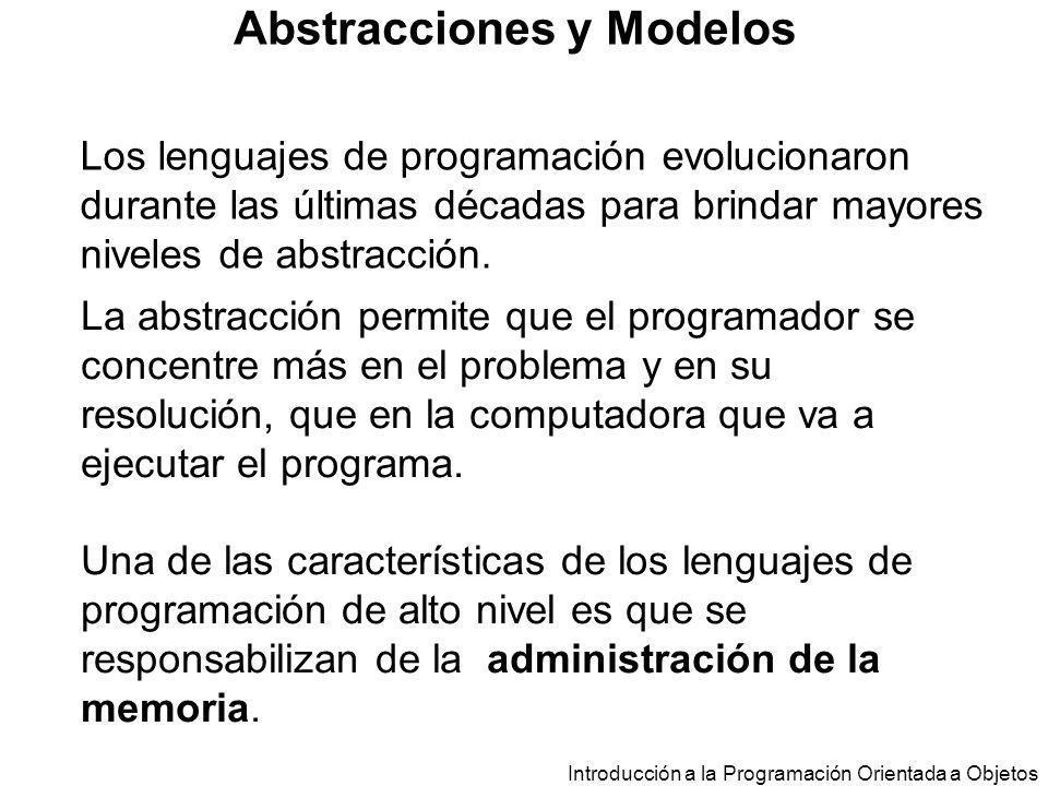 Introducción a la Programación Orientada a Objetos Abstracciones y Modelos El programador accede a la memoria a través de variables.