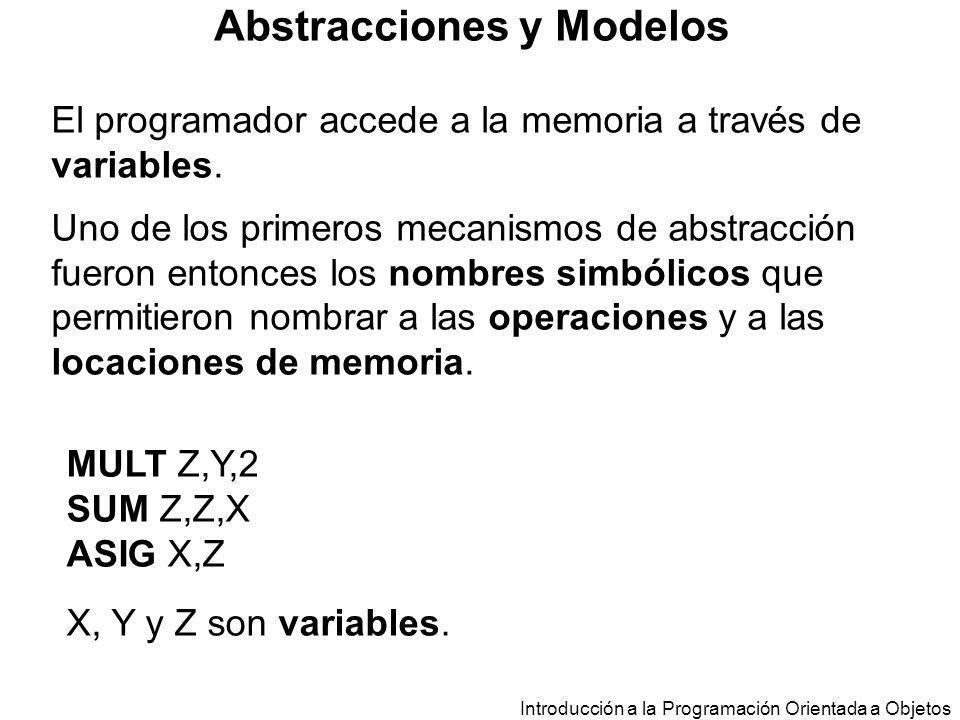 Introducción a la Programación Orientada a Objetos Abstracciones y Modelos El programador accede a la memoria a través de variables. Uno de los primer