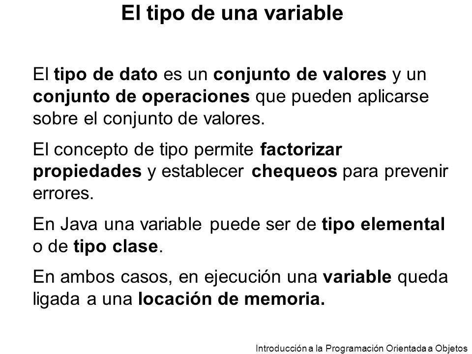 Introducción a la Programación Orientada a Objetos class EstacionMeteorologica{ public static void main (String a[]){ TempMinMax lunes, martes, miercoles; lunes = new TempMinMax(10,17); martes = new TempMinMax(-3,15); miercoles = new TempMinMax(10,17); … } Asignación
