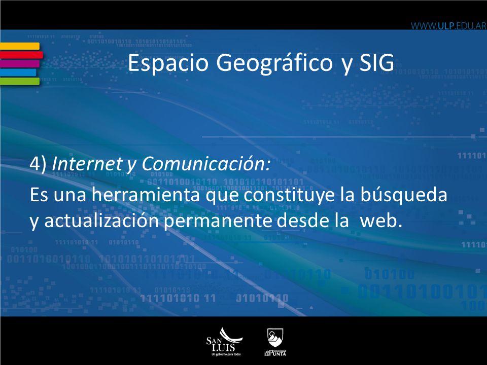 4) Internet y Comunicación: Es una herramienta que constituye la búsqueda y actualización permanente desde la web.
