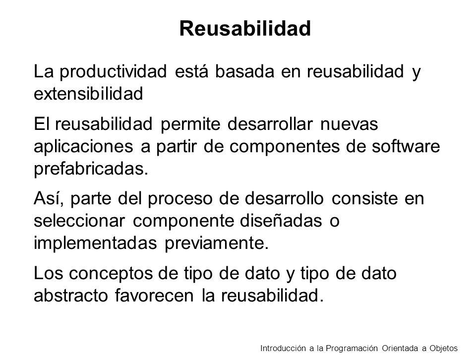 Introducción a la Programación Orientada a Objetos Reusabilidad La productividad está basada en reusabilidad y extensibilidad El reusabilidad permite desarrollar nuevas aplicaciones a partir de componentes de software prefabricadas.