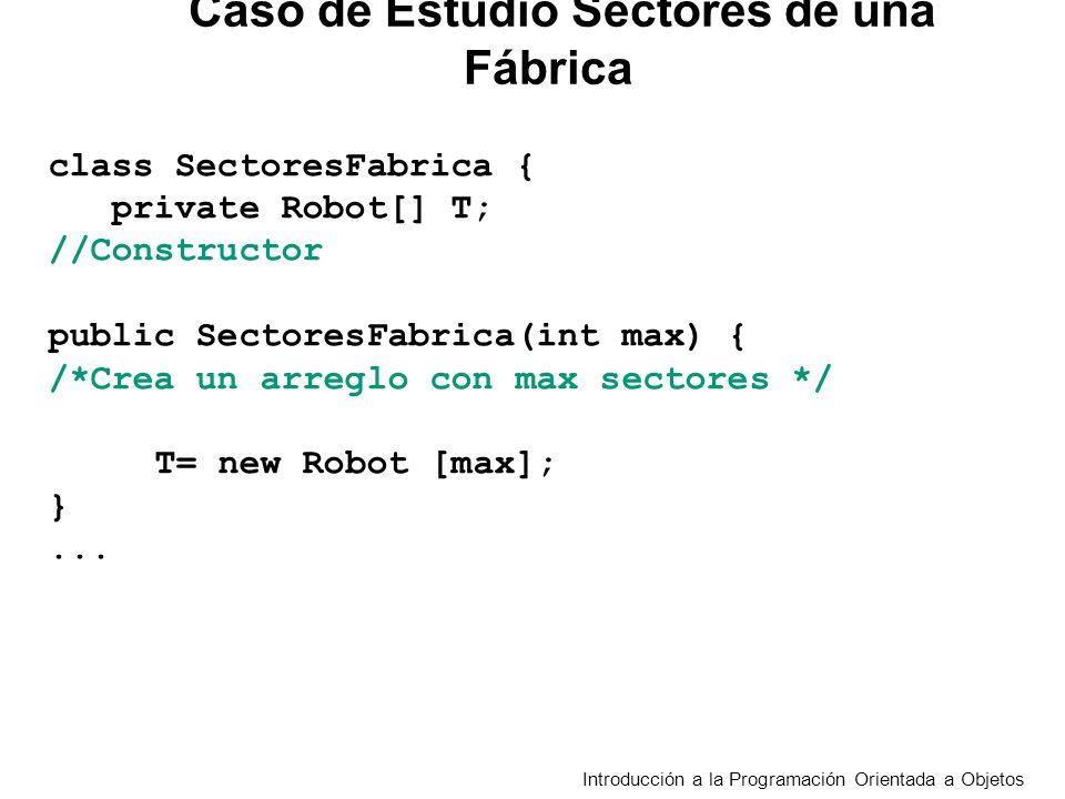 Introducción a la Programación Orientada a Objetos class SectoresFabrica { private Robot[] T; //Constructor public SectoresFabrica(int max) { /*Crea un arreglo con max sectores */ T= new Robot [max]; }...