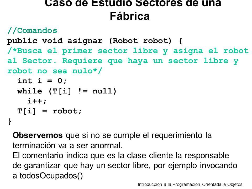 Introducción a la Programación Orientada a Objetos //Comandos public void asignar (Robot robot) { /*Busca el primer sector libre y asigna el robot al Sector.