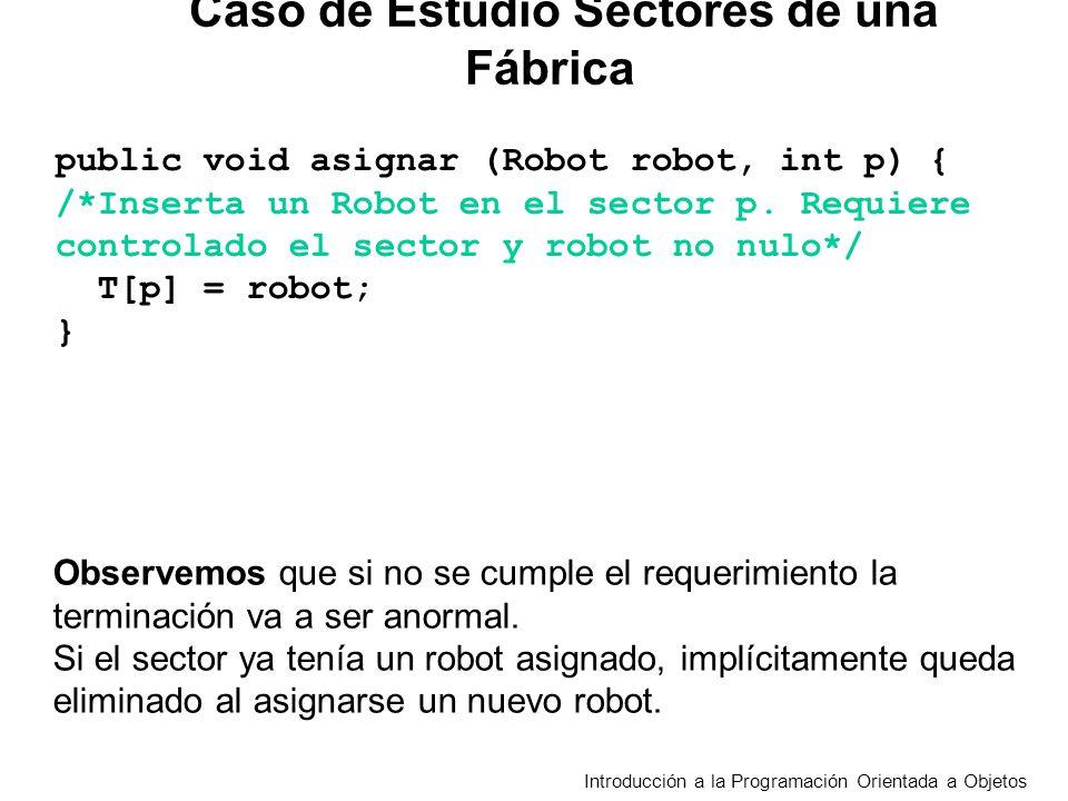 Introducción a la Programación Orientada a Objetos Caso de Estudio Sectores de una Fábrica public void asignar (Robot robot, int p) { /*Inserta un Robot en el sector p.