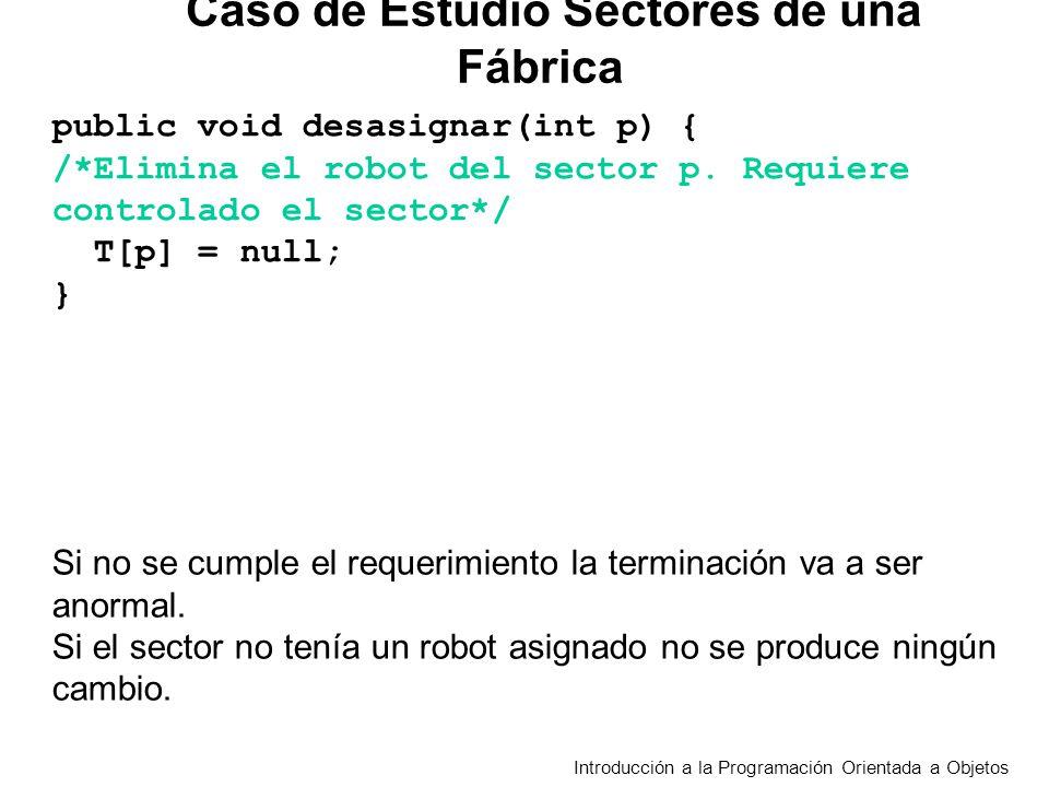 Introducción a la Programación Orientada a Objetos public void desasignar(int p) { /*Elimina el robot del sector p. Requiere controlado el sector*/ T[