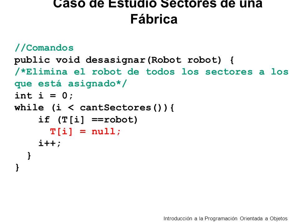 Introducción a la Programación Orientada a Objetos //Comandos public void desasignar(Robot robot) { /*Elimina el robot de todos los sectores a los que está asignado*/ int i = 0; while (i < cantSectores()){ if (T[i] ==robot) T[i] = null; i++; } } Caso de Estudio Sectores de una Fábrica