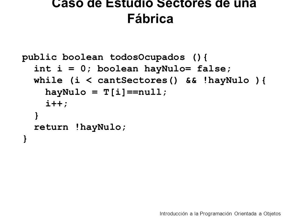 Introducción a la Programación Orientada a Objetos public boolean todosOcupados (){ int i = 0; boolean hayNulo= false; while (i < cantSectores() && !hayNulo ){ hayNulo = T[i]==null; i++; } return !hayNulo; } Caso de Estudio Sectores de una Fábrica