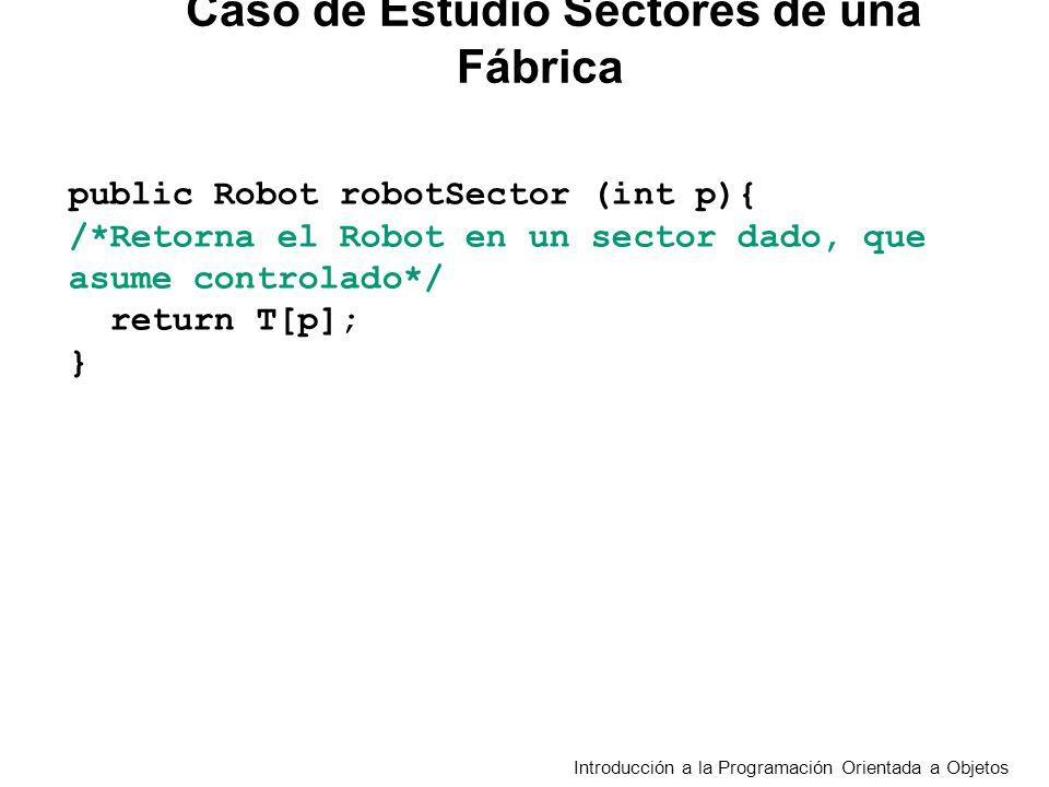 Introducción a la Programación Orientada a Objetos public Robot robotSector (int p){ /*Retorna el Robot en un sector dado, que asume controlado*/ return T[p]; } Caso de Estudio Sectores de una Fábrica
