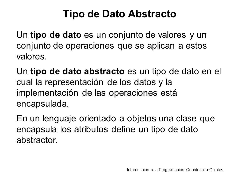 Introducción a la Programación Orientada a Objetos Tipo de Dato Abstracto Un tipo de dato es un conjunto de valores y un conjunto de operaciones que se aplican a estos valores.