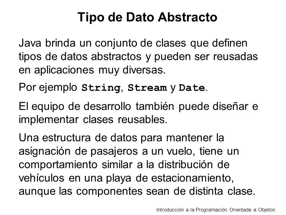 Introducción a la Programación Orientada a Objetos Java brinda un conjunto de clases que definen tipos de datos abstractos y pueden ser reusadas en aplicaciones muy diversas.