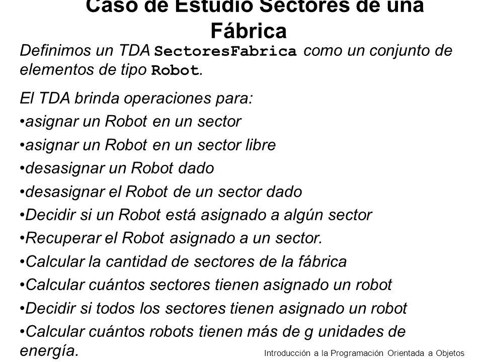 Introducción a la Programación Orientada a Objetos Definimos un TDA SectoresFabrica como un conjunto de elementos de tipo Robot. El TDA brinda operaci
