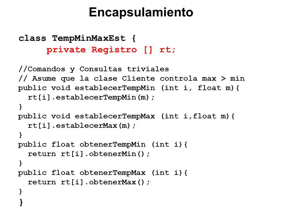 class TempMinMaxEst { private Registro [] rt; //Comandos y Consultas triviales // Asume que la clase Cliente controla max > min public void establecerTempMin (int i, float m){ rt[i].establecerTempMin(m); } public void establecerTempMax (int i,float m){ rt[i].establecerMax(m); } public float obtenerTempMin (int i){ return rt[i].obtenerMin(); } public float obtenerTempMax (int i){ return rt[i].obtenerMax(); } }...