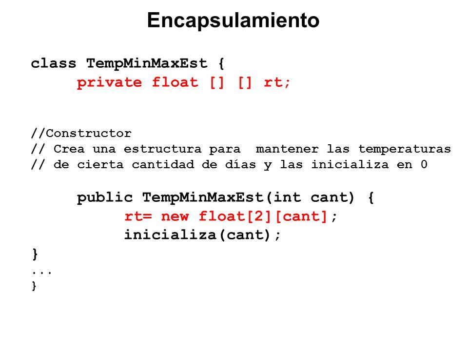 class TempMinMaxEst { private float [] [] rt; //Constructor // Crea una estructura para mantener las temperaturas // de cierta cantidad de días y las inicializa en 0 public TempMinMaxEst(int cant) { rt= new float[2][cant]; inicializa(cant); }...
