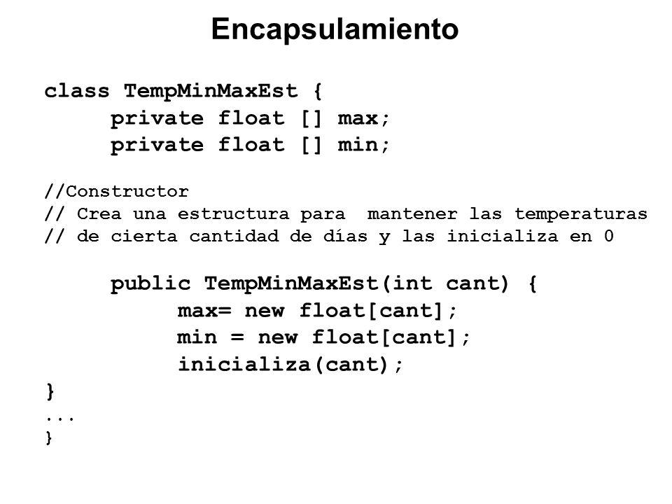 Introducción a la Programación Orientada a Objetos Encapsulamiento public int cantEstaciones () { return tabla.length ; } public int cantDias () { return tabla[0].length ; }