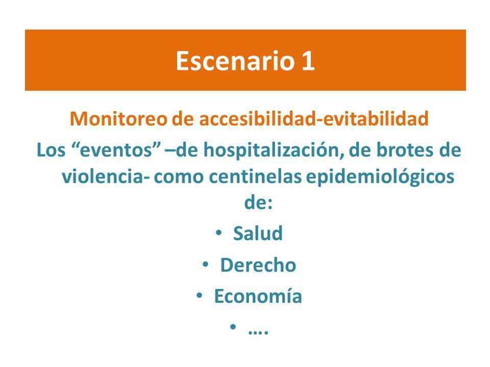 Escenario 1 Monitoreo de accesibilidad-evitabilidad Los eventos –de hospitalización, de brotes de violencia- como centinelas epidemiológicos de: Salud
