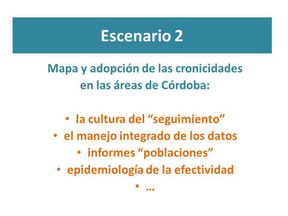 Escenario 2 Mapa y adopción de las cronicidades en las áreas de Córdoba: la cultura del seguimiento el manejo integrado de los datos informes poblacio