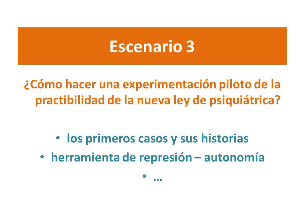 Escenario 3 ¿Cómo hacer una experimentación piloto de la practibilidad de la nueva ley de psiquiátrica? los primeros casos y sus historias herramienta