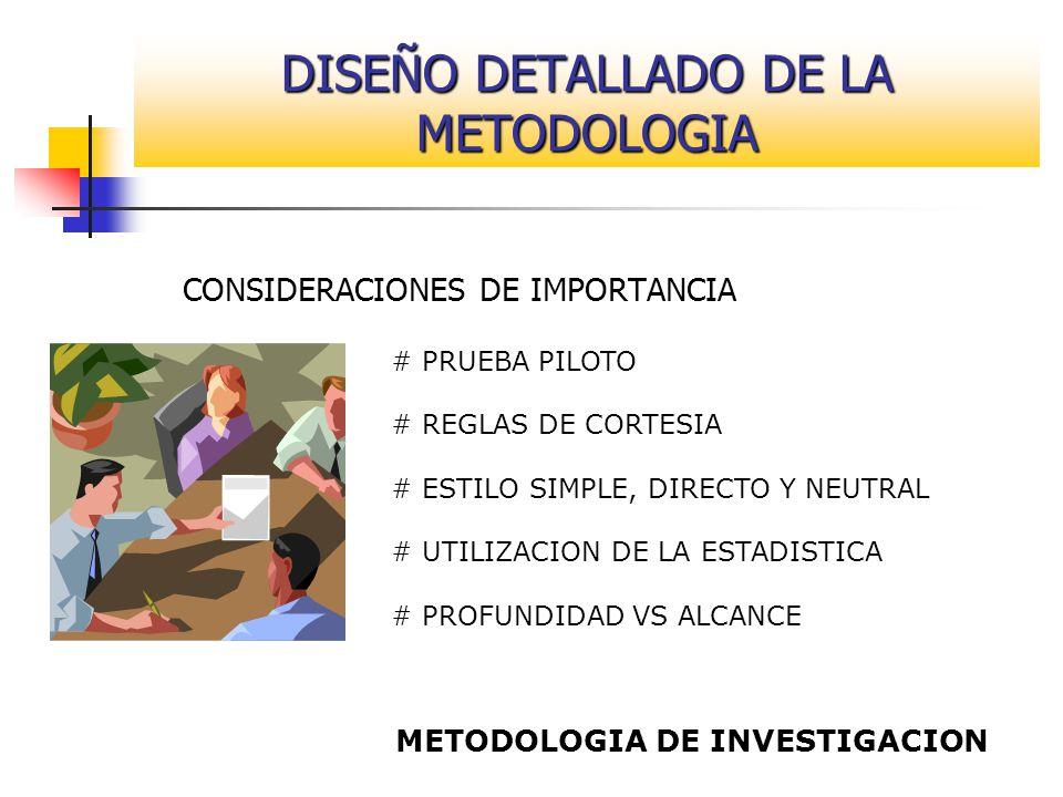 CONSIDERACIONES DE IMPORTANCIA # PRUEBA PILOTO # REGLAS DE CORTESIA # ESTILO SIMPLE, DIRECTO Y NEUTRAL # UTILIZACION DE LA ESTADISTICA # PROFUNDIDAD V