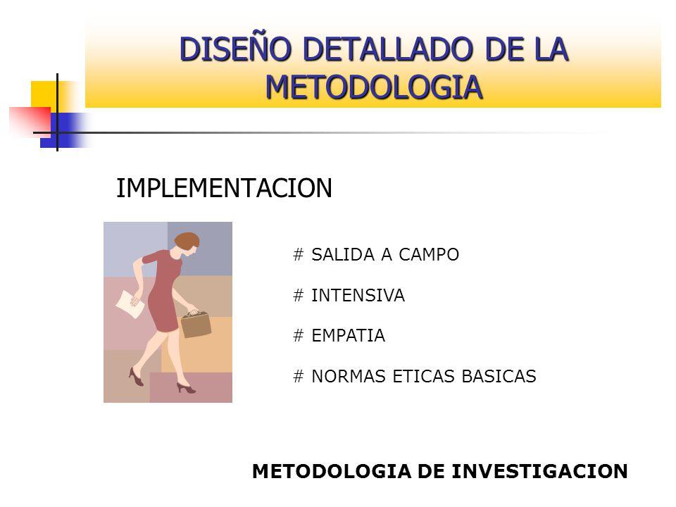 IMPLEMENTACION # SALIDA A CAMPO # INTENSIVA # EMPATIA # NORMAS ETICAS BASICAS METODOLOGIA DE INVESTIGACION DISEÑO DETALLADO DE LA METODOLOGIA