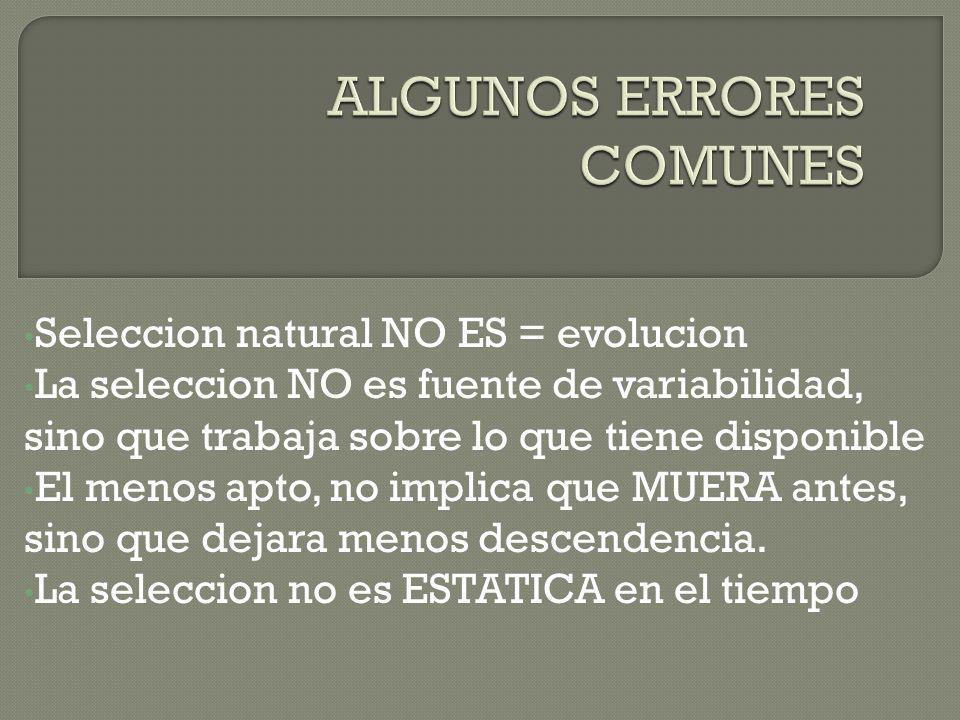 Seleccion natural NO ES = evolucion La seleccion NO es fuente de variabilidad, sino que trabaja sobre lo que tiene disponible El menos apto, no implic