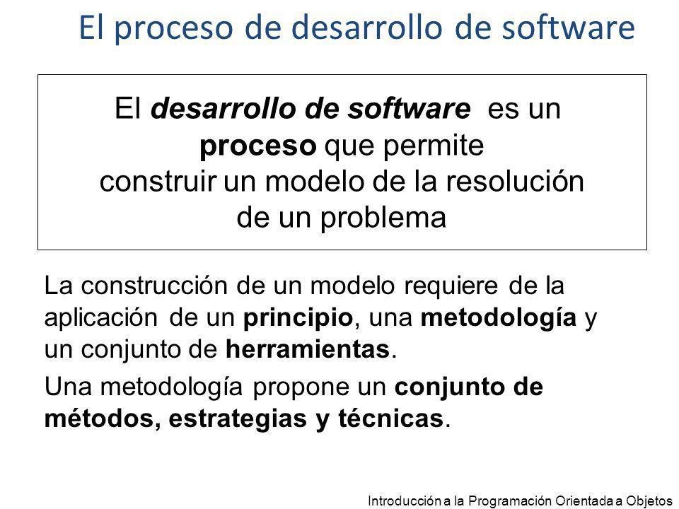 Herramientas Introducción a la Programación Orientada a Objetos DISEÑO Lenguaje de Modelado IMPLEMENTACIÓN Lenguaje de Programación IDE El proceso de desarrollo de Software