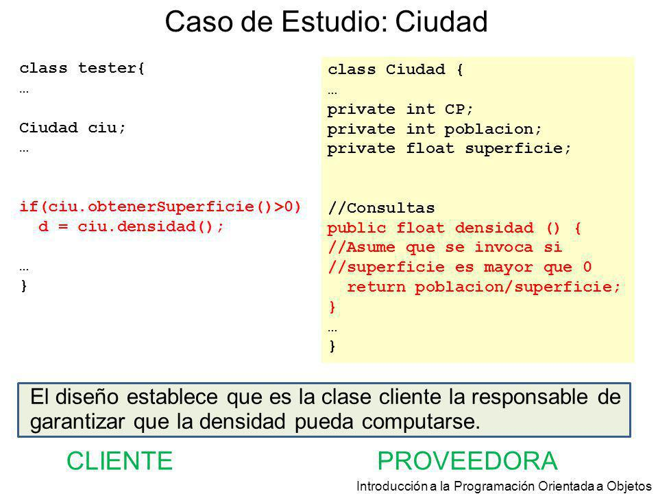 Introducción a la Programación Orientada a Objetos Caso de Estudio: Ciudad class Ciudad { … private int CP; private int poblacion; private float super