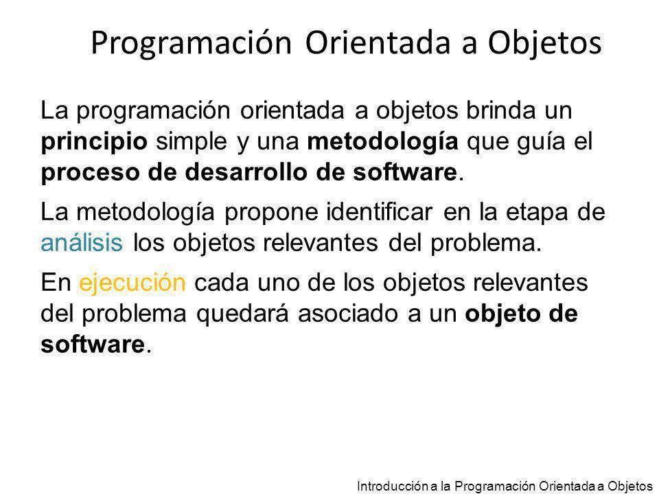 Programación Orientada a Objetos Análisis Introducción a la Programación Orientada a Objetos