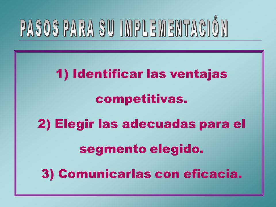 1) Identificar las ventajas competitivas.2) Elegir las adecuadas para el segmento elegido.