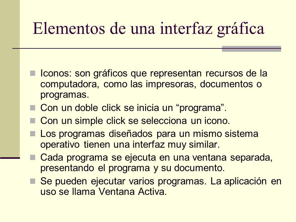 Elementos de una interfaz gráfica Iconos: son gráficos que representan recursos de la computadora, como las impresoras, documentos o programas. Con un