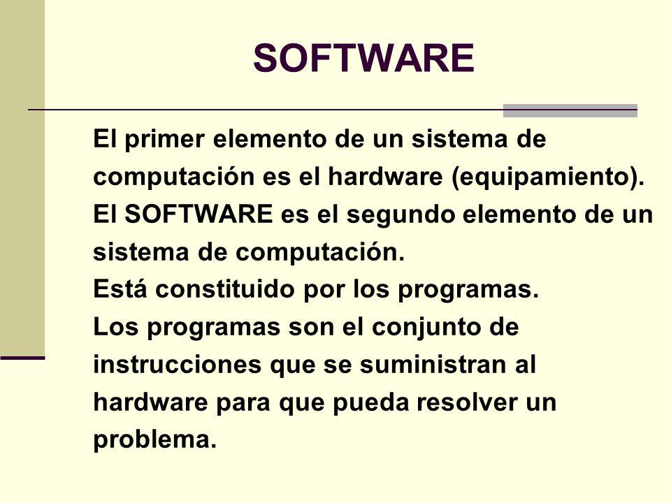 SOFTWARE El primer elemento de un sistema de computación es el hardware (equipamiento). El SOFTWARE es el segundo elemento de un sistema de computació