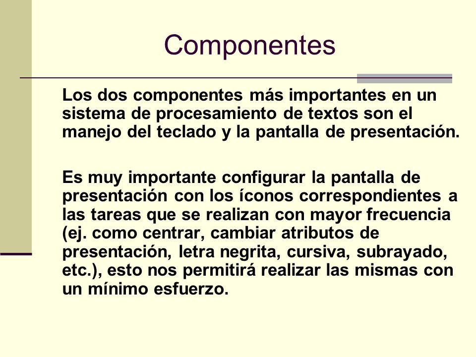 Componentes Los dos componentes más importantes en un sistema de procesamiento de textos son el manejo del teclado y la pantalla de presentación. Es m