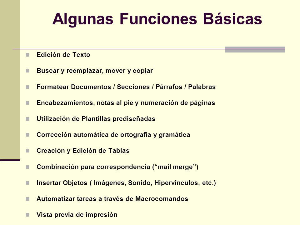 Algunas Funciones Básicas Edición de Texto Buscar y reemplazar, mover y copiar Formatear Documentos / Secciones / Párrafos / Palabras Encabezamientos,