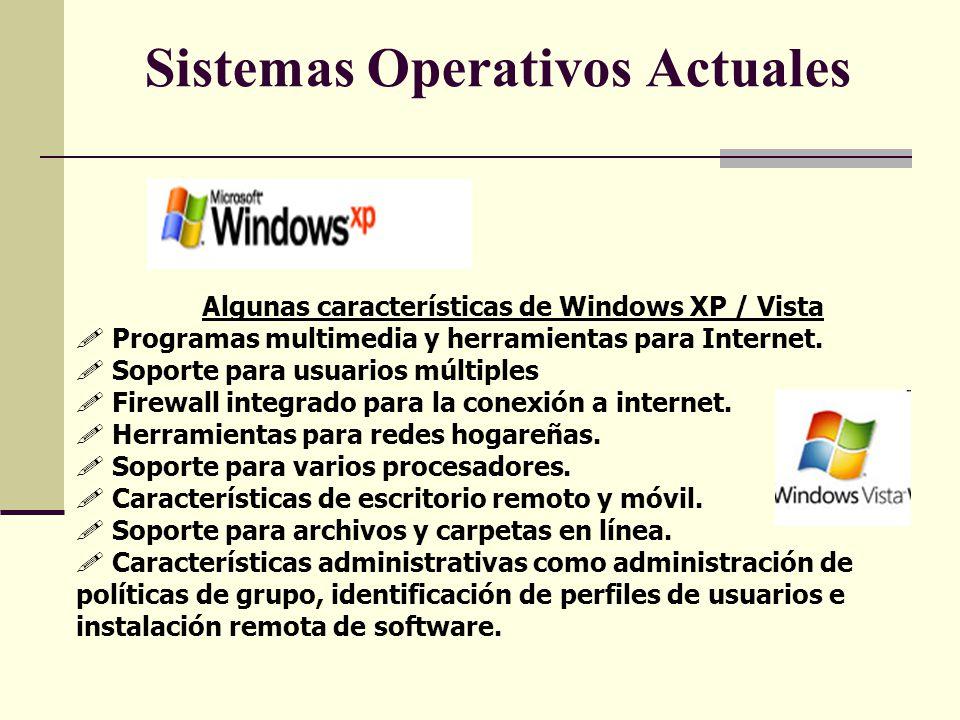 Sistemas Operativos Actuales Algunas características de Windows XP / Vista Programas multimedia y herramientas para Internet. Soporte para usuarios mú